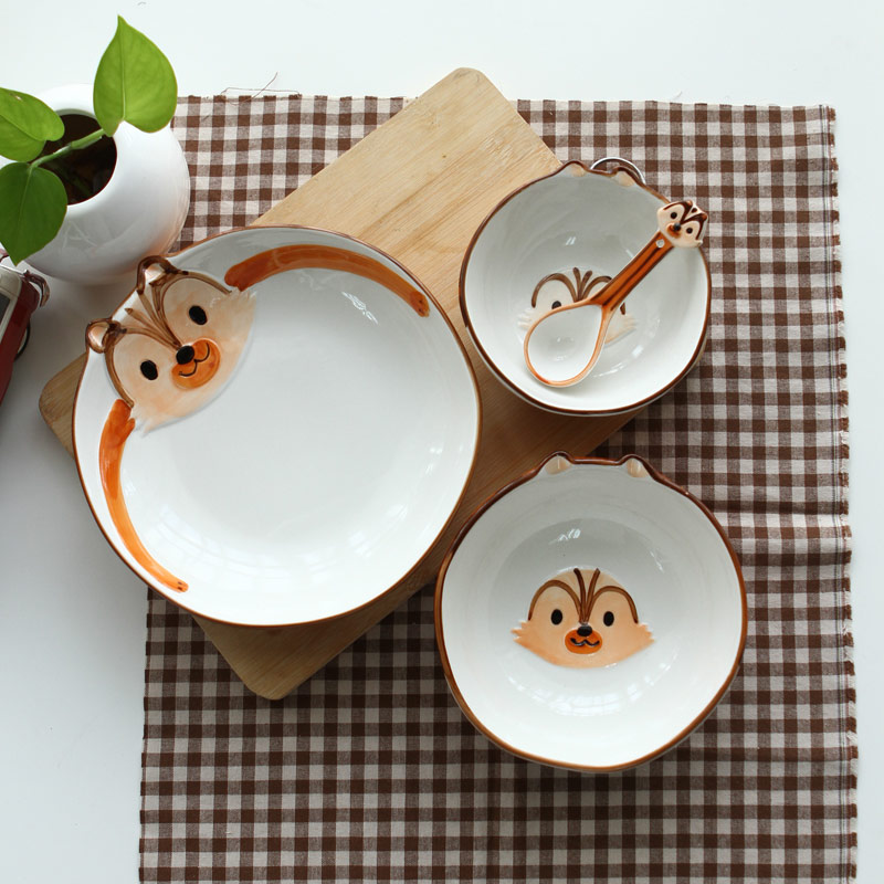 【趣玩】homee纯手绘动物碗组合装-松鼠(勺子+5寸碗+6寸碗+8寸盘)小图