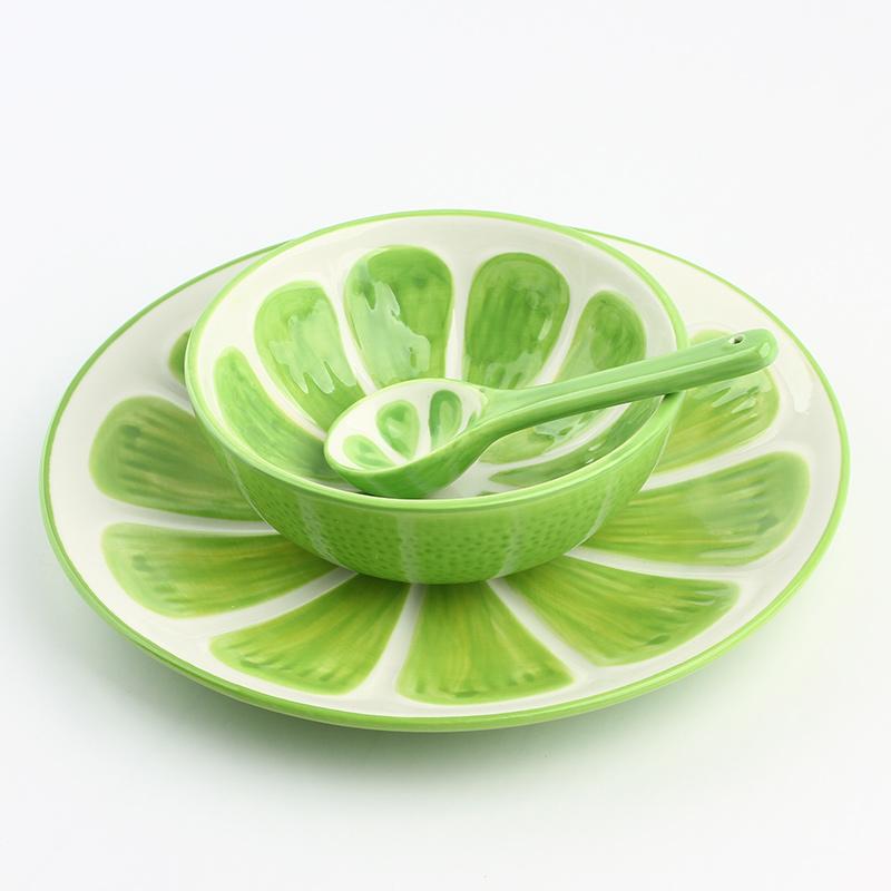 手绘水果系列餐具套装-哈密瓜(碗+盘子+勺子)小图2