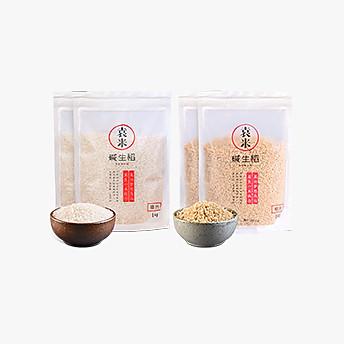 袁米 碱生稻有机大米 精米1kg*2+糙米1kg*2(新米预售款 下单后3-5个工作日内发货)