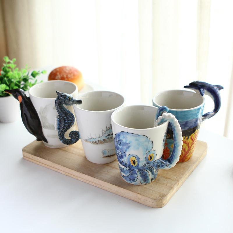 【趣玩】纯手绘陶瓷动物杯海洋系列(章鱼)